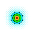 Target with paintball ball comics icon vector image vector image