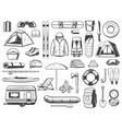travel and tourism equipment isolated icons vector image vector image
