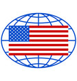 usa flag on globe vector image vector image