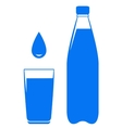 water drop falling in glass with bottle vector image
