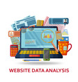 website data analysis background laptop with vector image