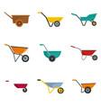 wheelbarrow garden plant icons set flat style vector image