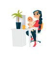 young mother working from home with baby on knees vector image