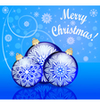 background with festive ball and snowflake with re vector image