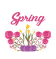 spring text with flowers branch leaves natural vector image