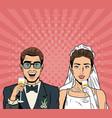 bride and groom pop art cartoon internet security vector image vector image