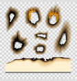 burnt piece burned faded paper hole realistic fire vector image vector image