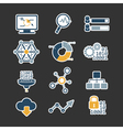 Business data analytic flat style icons set vector image vector image