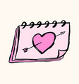 calendar with heart sketch icon for web mobile vector image