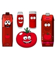 Cartoon tomato vegetable juice packs and glasses vector image