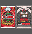 casino roulette slot machine and golden coins vector image vector image