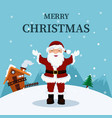 christmas card of santa claus at home in the north vector image vector image