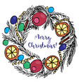 christmas wreath with text merry christmas vector image vector image