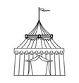 circus tent tops outline stripes flag on top vector image