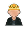 color pencil cartoon half body faceless worker vector image vector image