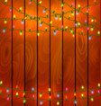 colorful garlands on wood background vector image vector image