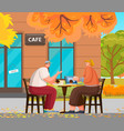 couple meeting on terrace coffeehouse vector image