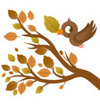 cute bird in a tree branch with dry leaves vector image vector image