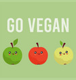 cute kawaii apples healthy vegan food vector image vector image