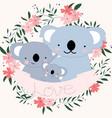 cute koala bear family carton in flower border vector image vector image