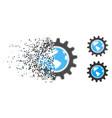 destructed pixel halftone earth engineering icon vector image
