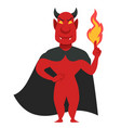 devil evil male creature holding flames in hand vector image