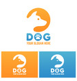 dog silhouette in circle isolated logo vector image vector image