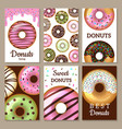 donuts cards design sweets colored backgrounds vector image vector image