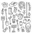 doodle garden set tools elements and stuff vector image