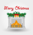 fireplace with christmas decorations icon vector image