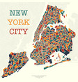 four color new york map vector image vector image