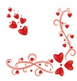 frame corner red hearts and curls valentine s day vector image vector image