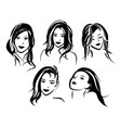 girl faces set in sketch style for beauty salon vector image