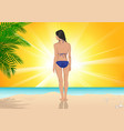 girl standing on beach vector image
