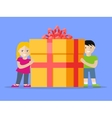 Giving Present Concept Smiling Little Boy and Girl vector image vector image