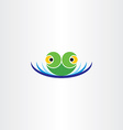 green frog head in water pond icon logo vector image vector image