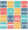 isolated bridges big icons set vector image vector image