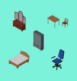 isometric furniture set of office chair bedstead vector image