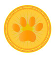 paw print gold medal icon vector image vector image