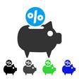 piggy bank flat icon vector image vector image