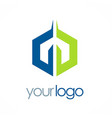 polygon colored business logo vector image