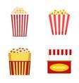 popcorn cinema box striped icons set flat style vector image vector image
