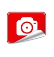 Red sticker camera vector image