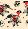 seamless pattern with finches and holly vector image vector image