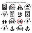 senior man and woman social distancing icons vector image