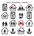 senior man and woman social distancing vector icon vector image