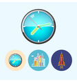 Set icons with colored wall clock modern buildi vector image vector image
