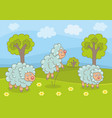 sheeps on green lawn vector image vector image