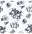 simple black and white floral seamless pattern vector image vector image