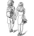 sketch teens on a stroll vector image vector image